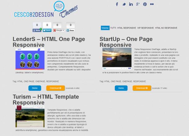 """Screenshot del mio """"portale"""" dei Temi/Template"""