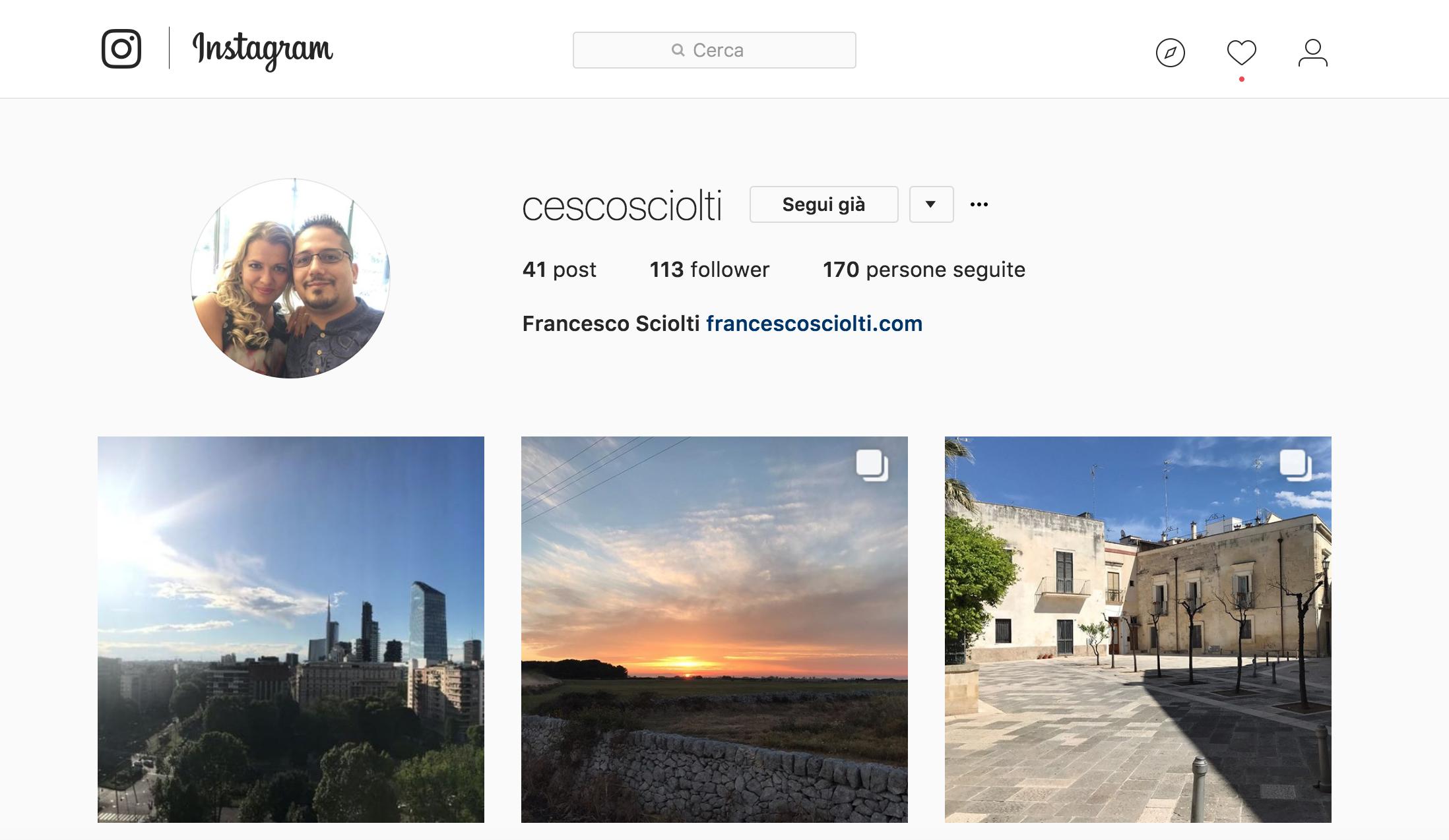 profilo Instagram da desktop